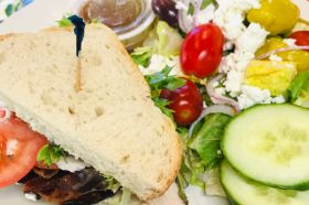 Choose sandwich and add 1/2 salad with dressing